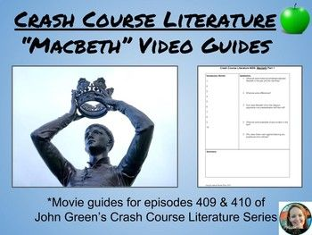 """This guide goes along with John Green's (yes, that John Green) Crash Course Literature videos for Shakespeare's, """"Macbeth."""" It is designed to help students make sense and organize fast-talking John Green's ideas about Shakespeare's complicated anti-hero."""