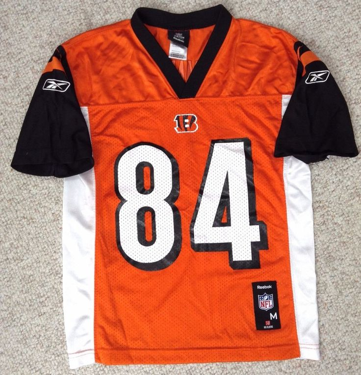 YOUTH Boys Med 10-12 CINCINNATI BENGALS TJ HOUSHMANDZADEH #84 JERSEY Orange Vtg #Reebok #CincinnatiBengals