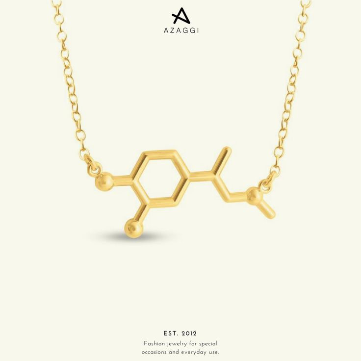 "This is the molecule of the ""fight or flight"" hormone. The one that fills up our body with adrenaline when we are excited. Have an exciting Saturday! III #Azaggi #adrenaline #molecule #necklace #fashion #accessory #jewelry #bijoux #bijouxlovers #premium #accessories #moda #instafashion #instastyle #fashionaddict #fashionable #fashionlover #glam #style"