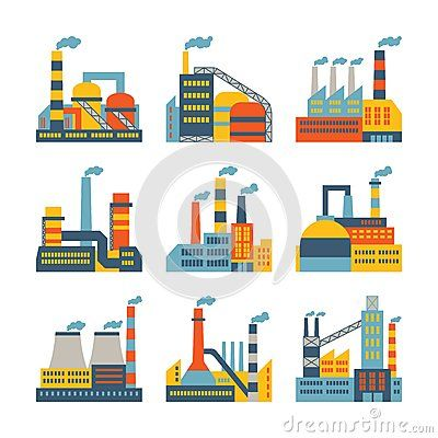 Industrial factory buildings icons set in flat Stock Images