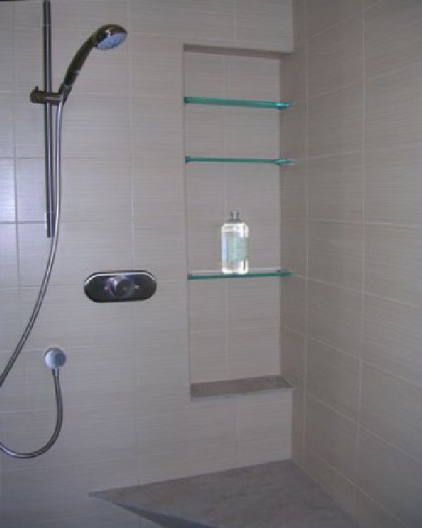 small shower room with glass storage design ideas