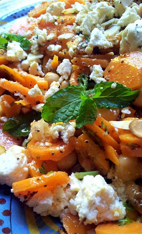 Moroccan-Spiced Carrot and Chickpea Salad ~w. feta, parsley, mint, almonds, orange, lemon.