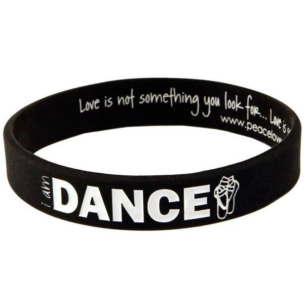 Peace Love World I am Dance Perfection Black Classic Silicone Bracelet ($2) ❤ liked on Polyvore featuring jewelry, bracelets, peace love world, silicone jewelry, ballet jewelry and ballerina jewelry