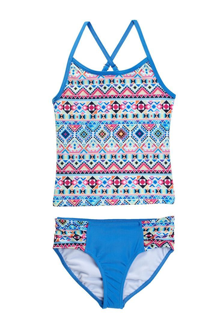 Neon Aztec Tankini (Little Girls)