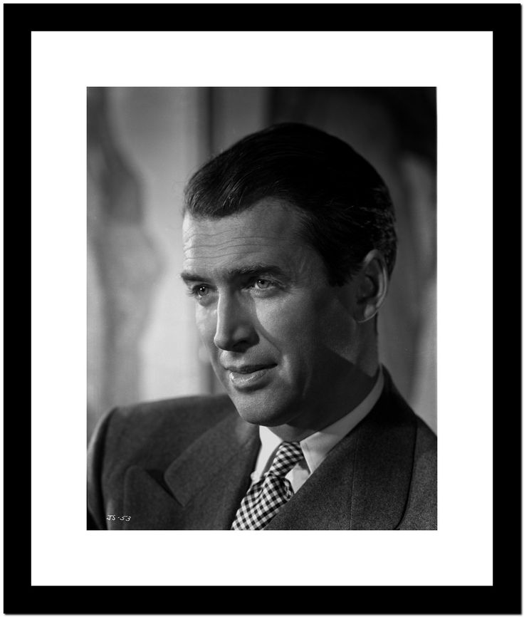 James Stewart Portrait in Grey Sport Coat and White Polka Dot Necktie with Brushed Up Hair Premium Art Print