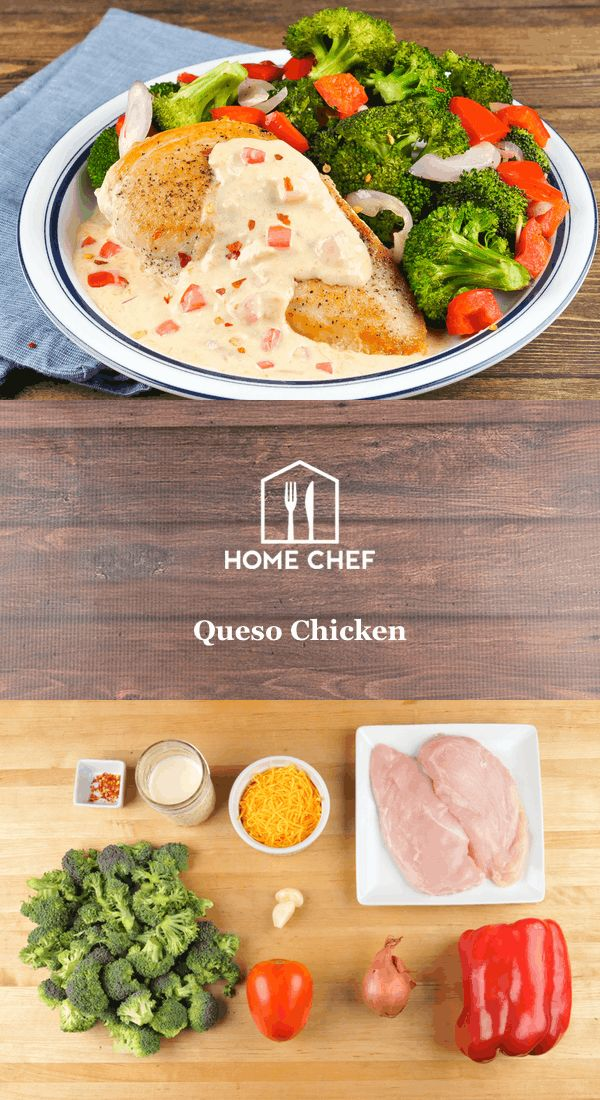Okay, so what's the deal with queso chicken? Oh, not much, it's just a tender, juicy chicken breast covered in an insane creamy cheddar sauce. I'm guessing we have your attention now? Don't worry about breaking the calorie bank, though, we keep it low-cal, low-carb, and high-delish. Served next to roasted broccoli and peppers, you'll be enjoying this queso with gusto.