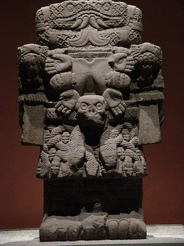 "'This is an important sculpture of Coatlicue, the Aztec goddess of the land, fire and fertility, life, death and rebirth, and mother of the southern stars. Her head is formed of two snakes, and her skirt is made up of bodies interspersed with rattlesnakes (her name translates as ""the one in the skirt of snakes"")'"