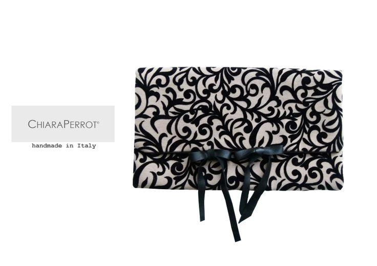 """Pochette__miniflocca13 fabrics """"floccato"""" & leather Handmade in Italy"""