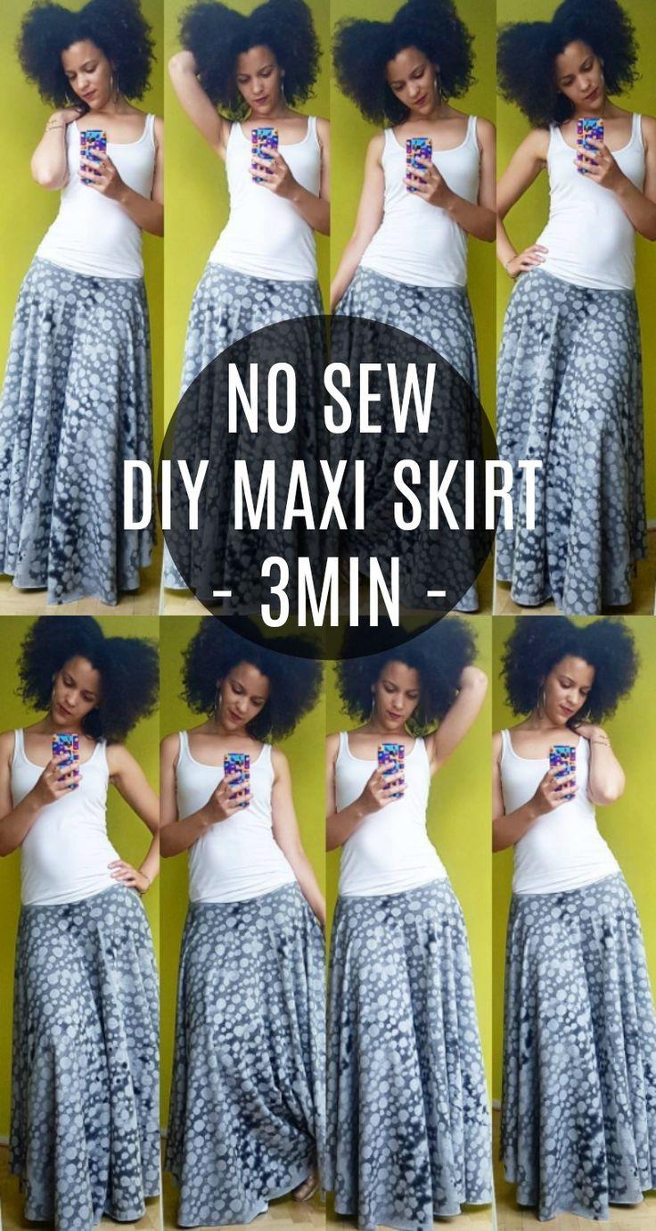 diy clothes hacks: no sew diy maxi skirt in 3min