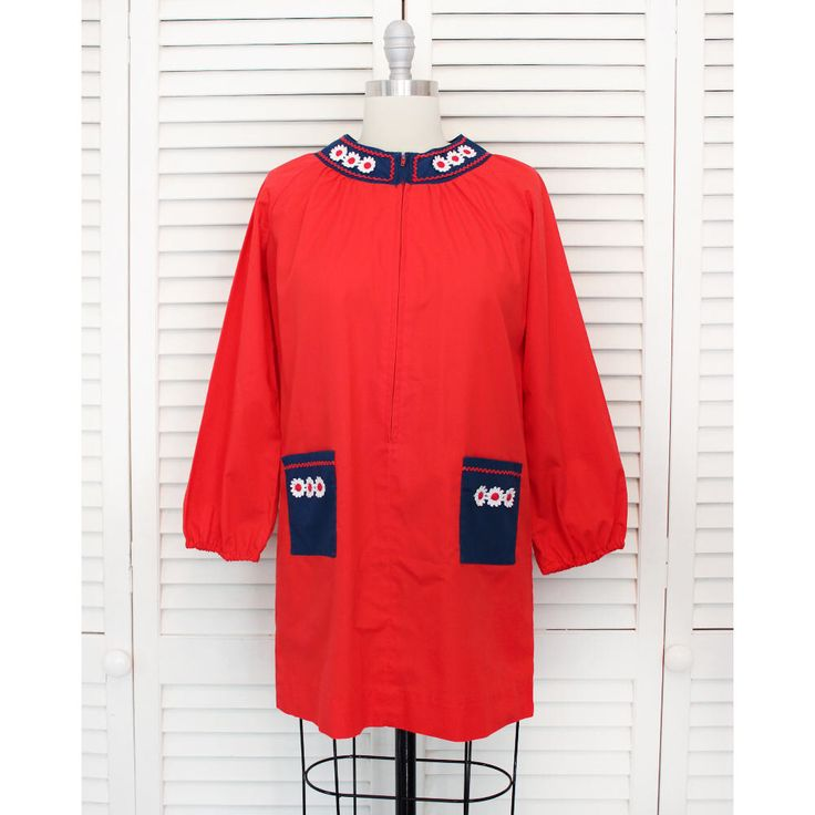 Vintage Red Daisy Long Sleeve Mini Dress / 1960s 1970s Hippie Boho Blouse / Small Medium by MaMereVintage on Etsy https://www.etsy.com/listing/523065140/vintage-red-daisy-long-sleeve-mini-dress