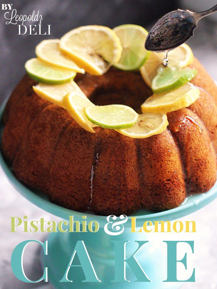 Pistazienkuchen Mit Hausgemachten Zitronensirup. Der Kuchen Ist Im  Anschnitt Knallig Grün! #cake
