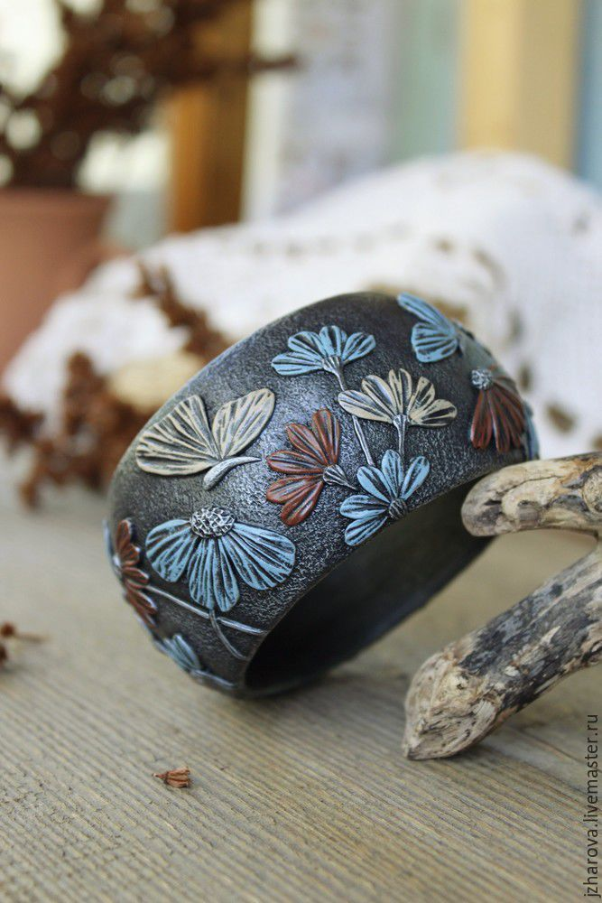 Купить Браслет широкий из полимерной глины Летний день - браслет, браслет полимерная глина
