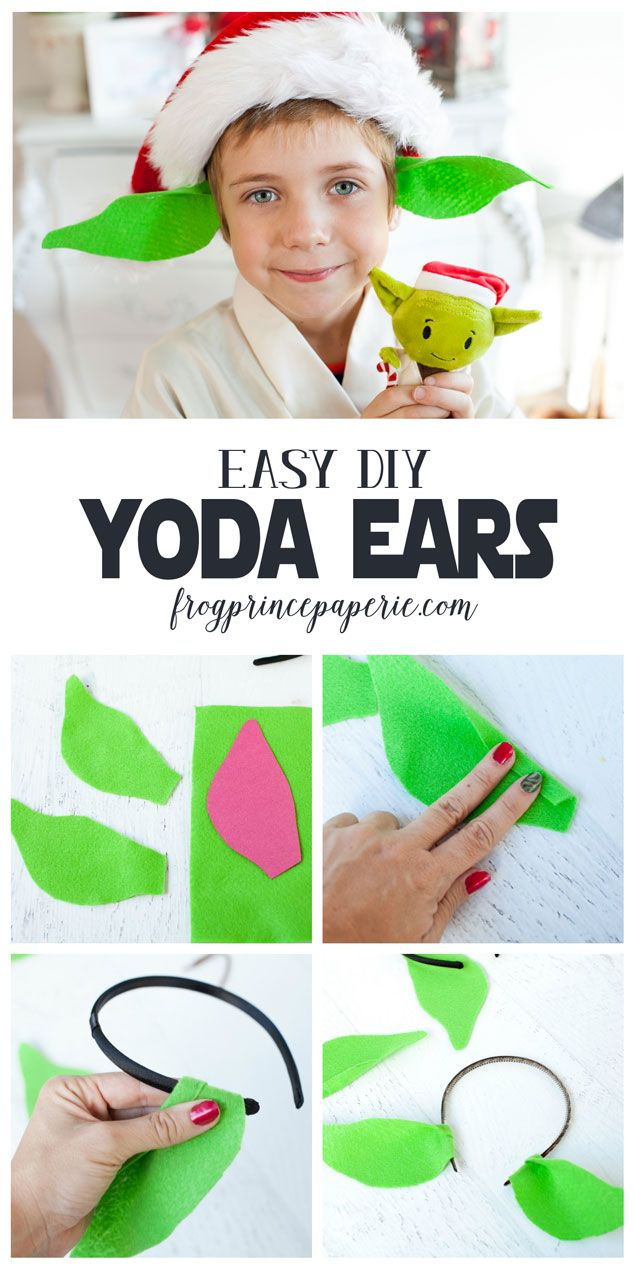 5 minute DIY Yoda Ears from headbands - get ready for Star Wars!