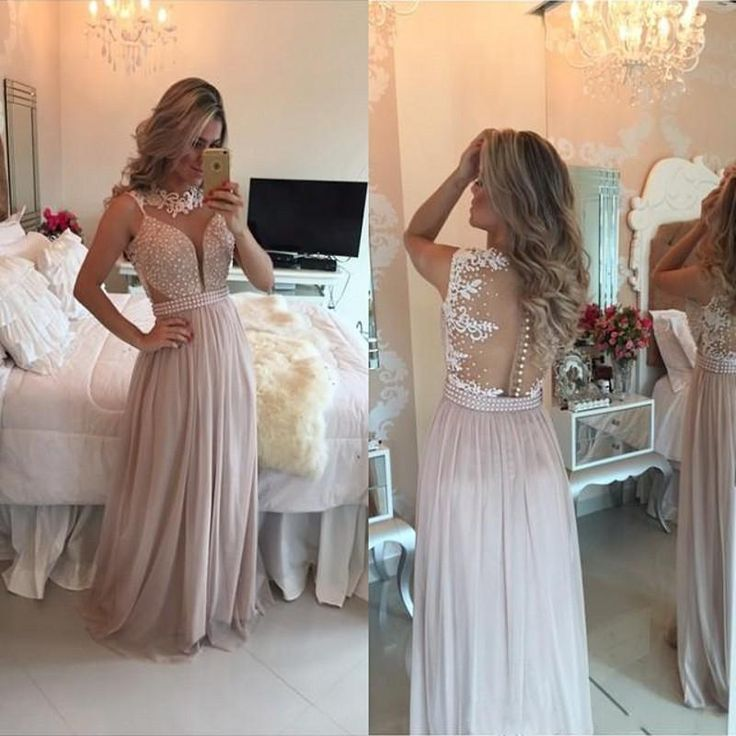 Vestidos De Festa Long Prom Dresses High Neck Vintage Lace Pearls Chiffon Womens Party Evening Dress Gowns 2016 Arabic Old Hollywood Prom Dresses Petite Prom Dresses Uk From Ilovewedding, $128.65| Dhgate.Com
