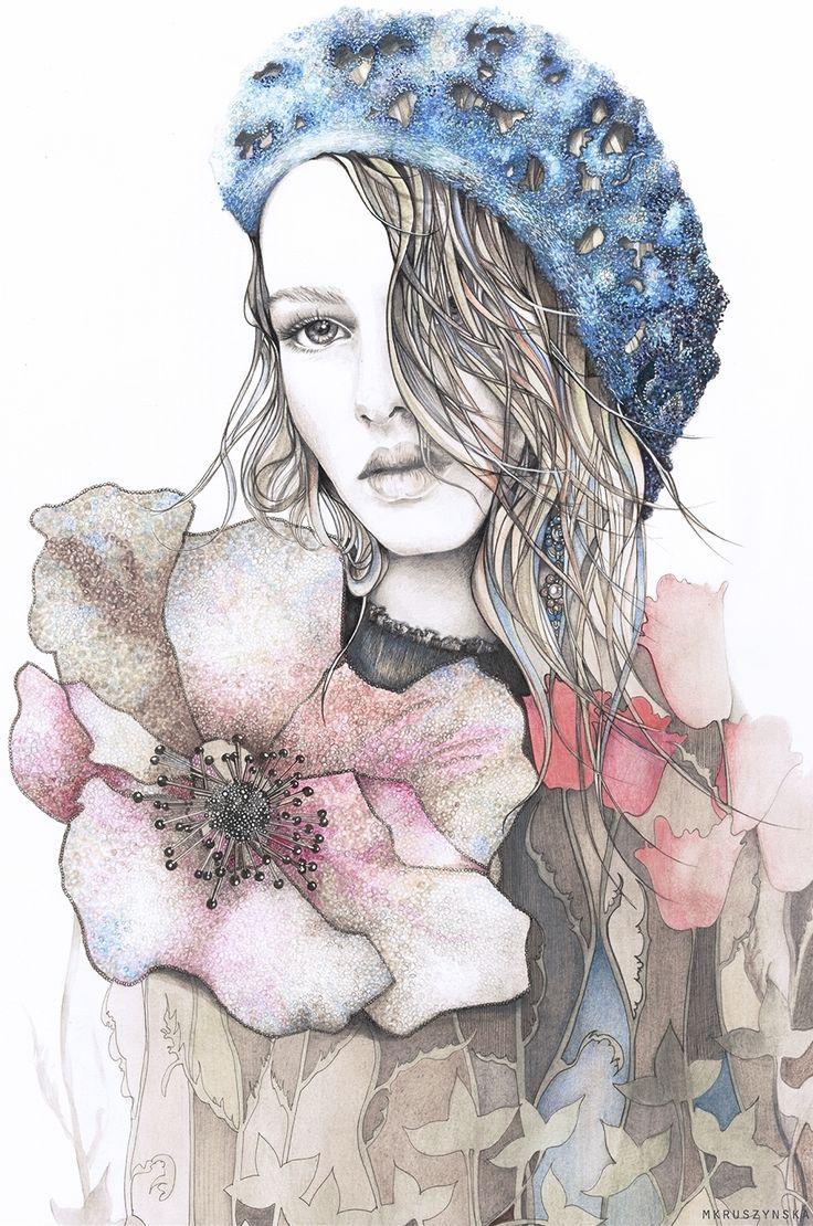 """Obraz na płótnie """"Dziewczyna z kwiatem"""""""