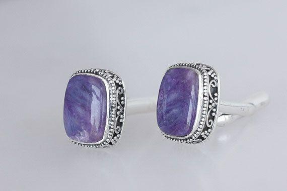 Amazing Rare Sugilite Silver Cufflinks, Designer Silver Cufflinks, Sugilite Gemstone, Sterling Silver Cufflinks, Gift Idea for Men, Inc-6