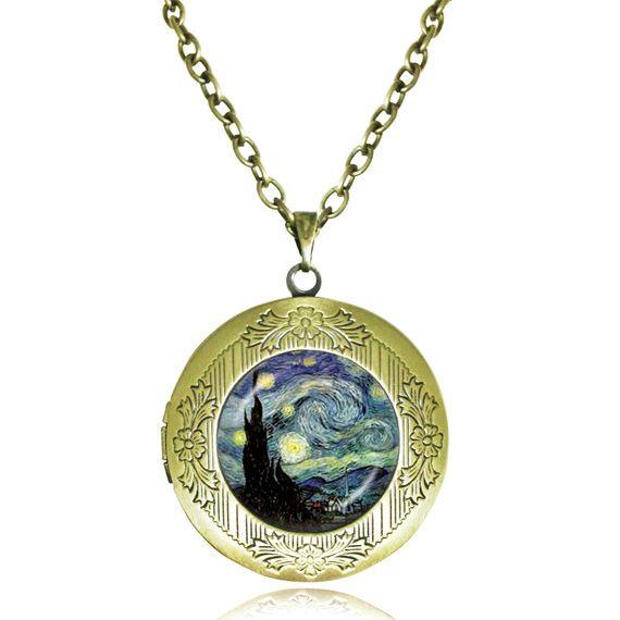 Van Gogh starry night necklace pendant  Van Gogh jewelry glass dome oil painting art pendant photo round  locket necklace colar