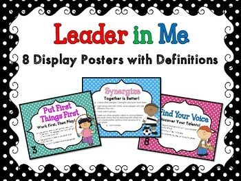 """Display posters--features 8 habits--including """"Find Your Voice"""""""