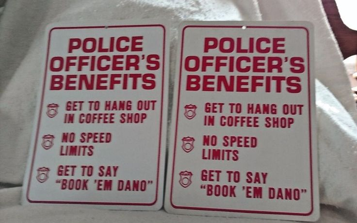 Novelty Sign Lot of 2 Police Officer's Benefits #UnbrandedGeneric