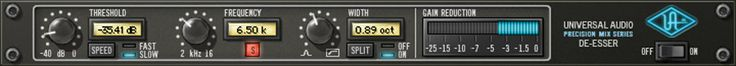 Precision De-Esser Plug-In -     Specialized Tool for Transparent Compression of the Sibilant Range    The Precision De-Esser seamlessly and accurately removes sibilance from individual audio tracks or even composite mixes via its intuitive interface and sophisticated yet transparent filter processing.