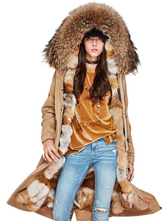 b507a159f8 Melody Women's Winter Detachable Real Fox Fur Liner Parka Maxi Hooded Coat  Luxurious Long Jacket
