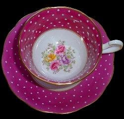 Royal Albert China - Matching Sets Page 8  WHAT A NICE SURPRISE INSIDE THIS POLKA DOT CUP !!  Love this!