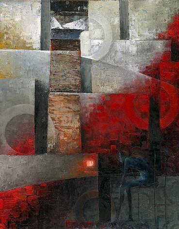 "Galleria scorrevole.                                           Sergio Cerchi, italian painter (Firenze), ""Lighthouse"", oil on canvas."