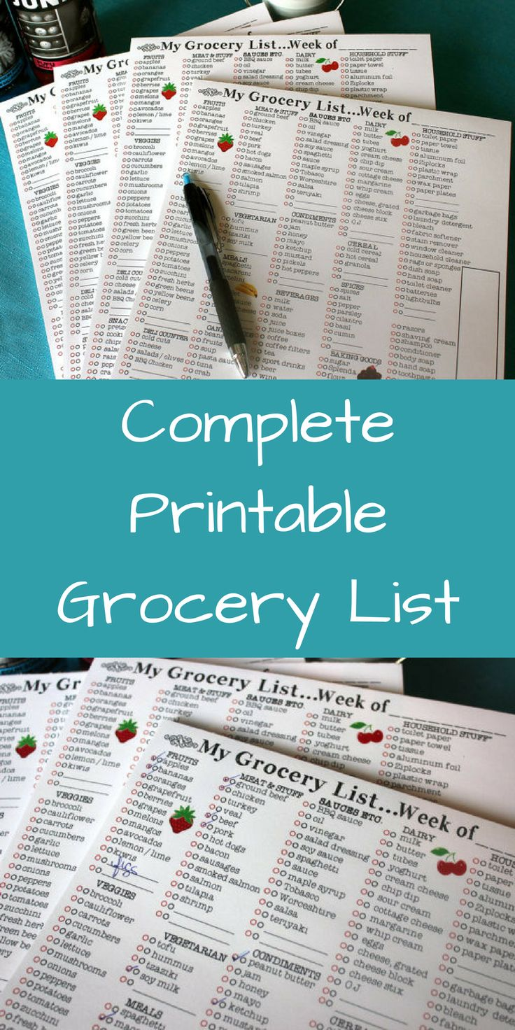 Save money and time with this complete printable grocery list.  #ad  #printable  #etsy  #budget  #grocerylist
