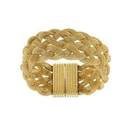 Goldtone Braided Mesh with Magnet Lock Bracelet Beaux Bijoux. $17.99. Crafted of brass. Can be delivered next Business Day!. Breathtakingly unique and eye-catching. Extra-wide look. Magnetic lock for an easy close