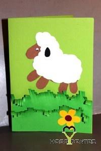 Kreatív ötletek Húsvétra: Báránykás húsvéti képeslap    http://www.hobbycenter.hu/Unnepek/baranykas-kepeslap.html