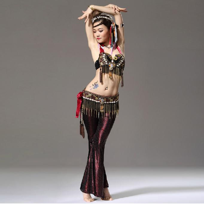 Find More Belly Dancing Information about Performance Women Dance Wear 3 Set Clothes Beads Bra, Belt with Gold Chain Tribal Print Pants Tribal Belly Dance Costume,High Quality costum belly dance,China dance costume fringe Suppliers, Cheap dance costume pictures from Extraodinary Professional Belly Dance Costume & Accessory on Aliexpress.com