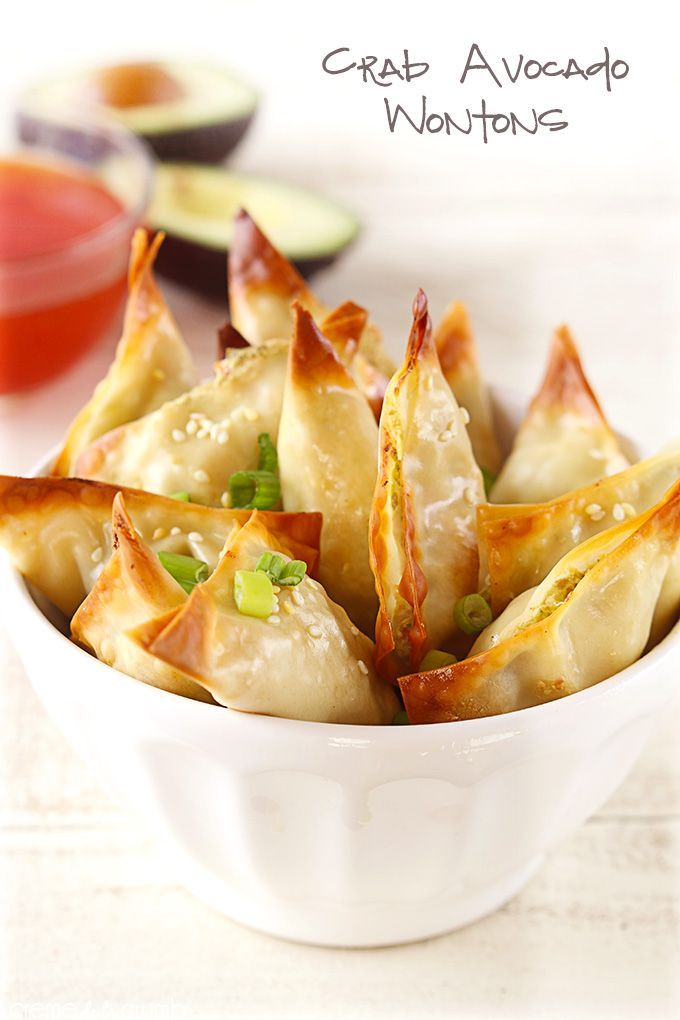 Crab and avocado stuffed wontons baked crispy in the oven! A huge hit at any meal or party!