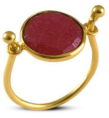 Δαχτυλίδι από επιχρυσωμένο ασήμι 925 με γνήσιο ρουμπίνι