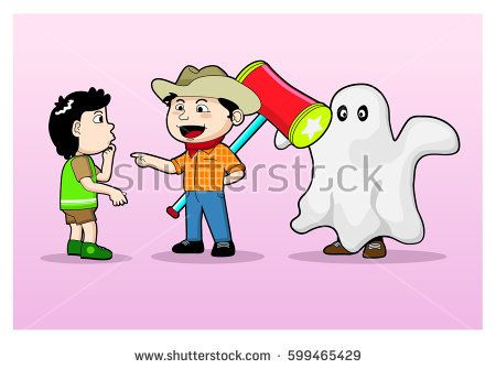 vector cartoon illustration of three boys dressed in cowboy holding a hammer and wearing a ghost costume, scare scare each other when april mop