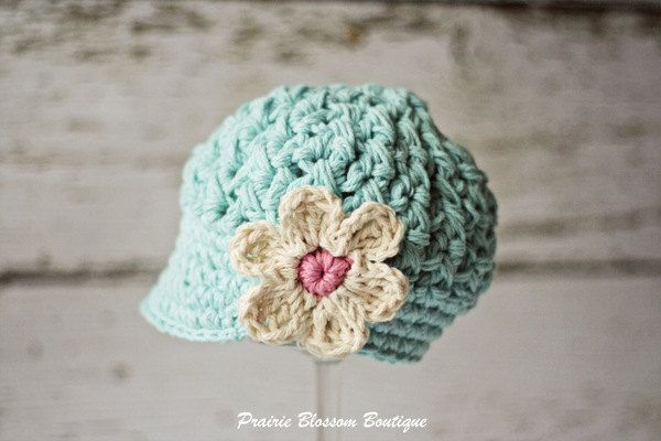 Crochet Baby Girl Hats, Baby Newsboy Hat with Flower, Crochet Baby Hats, Robin's Egg Blue Hat for Babies, Newborn Size. $26.00, via Etsy.