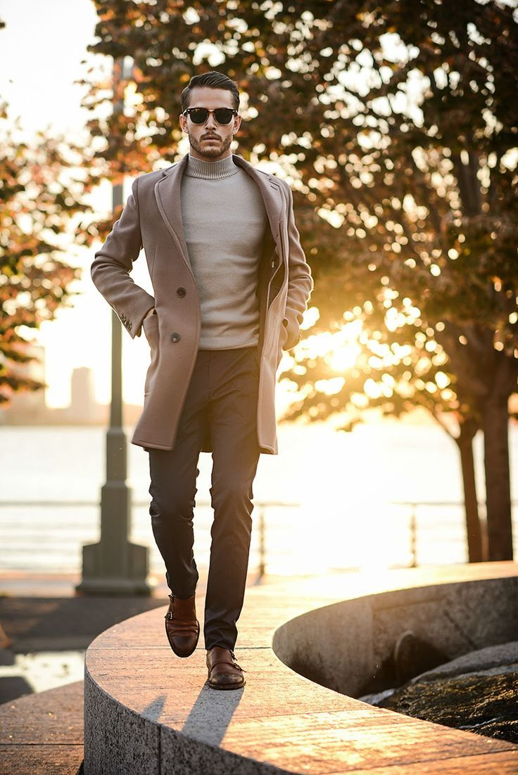 Pairing a brown overcoat with black trousers will create a powerful and confident silhouette. Brown leather double monks will give your look an on-trend feel.  Shop this look for $297:  http://lookastic.com/men/looks/sunglasses-turtleneck-overcoat-dress-pants-double-monks/5607  — Dark Brown Sunglasses  — Grey Turtleneck  — Brown Overcoat  — Black Dress Pants  — Brown Leather Double Monks