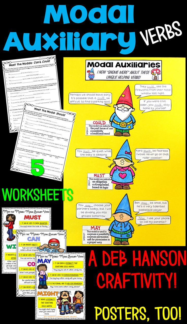 Modal Auxiliaries Worksheets, Craftivity, & Posters 4th