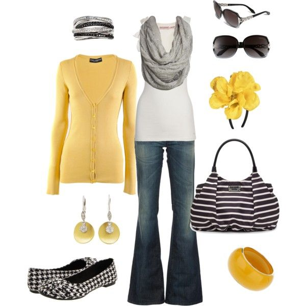 How cute is this?: Colors Combos, Yellow Outfits, Jeans Outfits, Fashion Style, Black White, Casual Outfits, Spring Outfits, Woman Outfits, Yellow Black