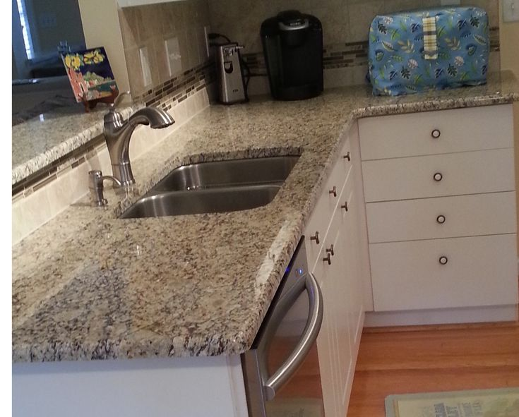 Backsplash Santa Cecilia Granite Desert Gold Mosaic And Roman Noce Tile Lowes Backsplash
