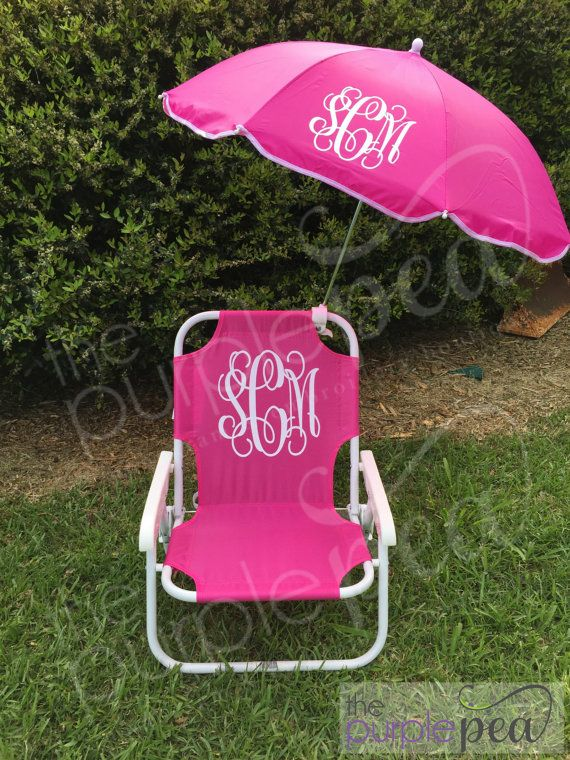 Monogrammed Kid S Beach Chair W Umbrella Childs Southern Pinterest Monogram Chairs And