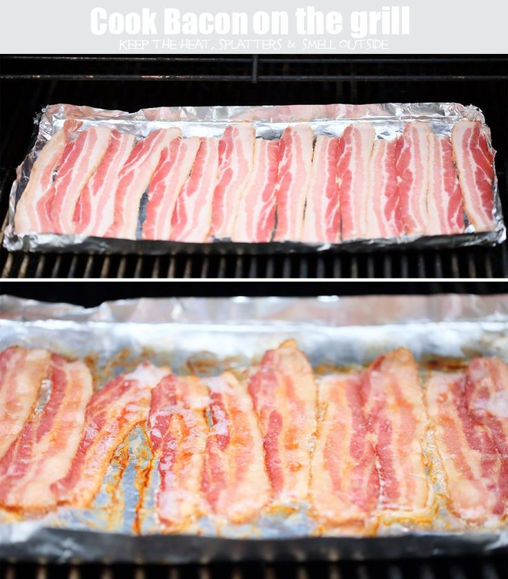 Bacon, grill, outside, cook