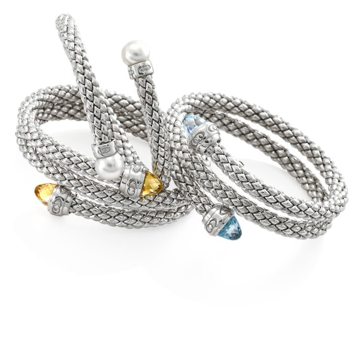 CHIMENTO Stretch HD Silver bracelets with topaz, pearl and citrin quartz.