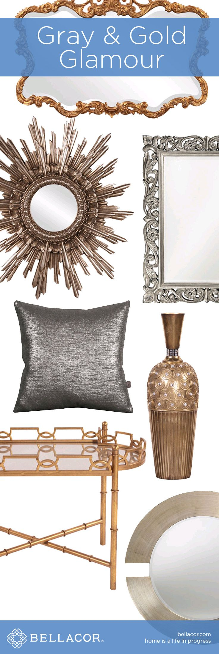 Gray & Gold Glamour - Shop Decor, Lighting, and Furniture at http://www.bellacor.com/