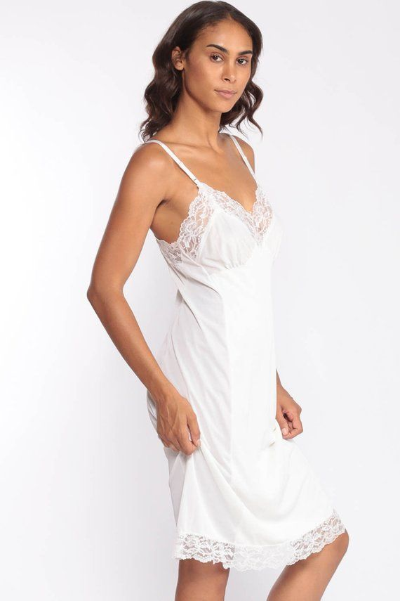 Vintage White Lace Midi Slip Dress