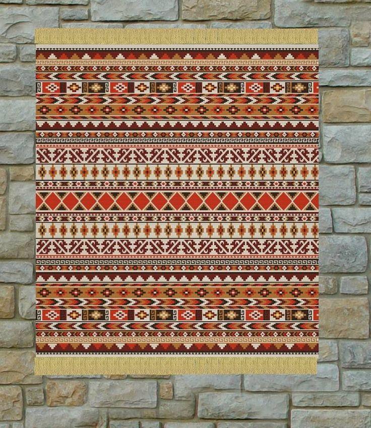 patron punto cruz alfombra grecas para bordar en lanas puntos de ancho puntos