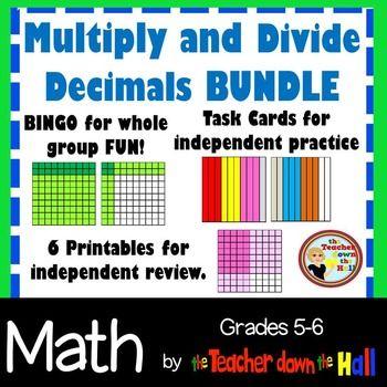 Decimals - Mult. & Div. Decimals -Bingo, Task Cards, & Wor