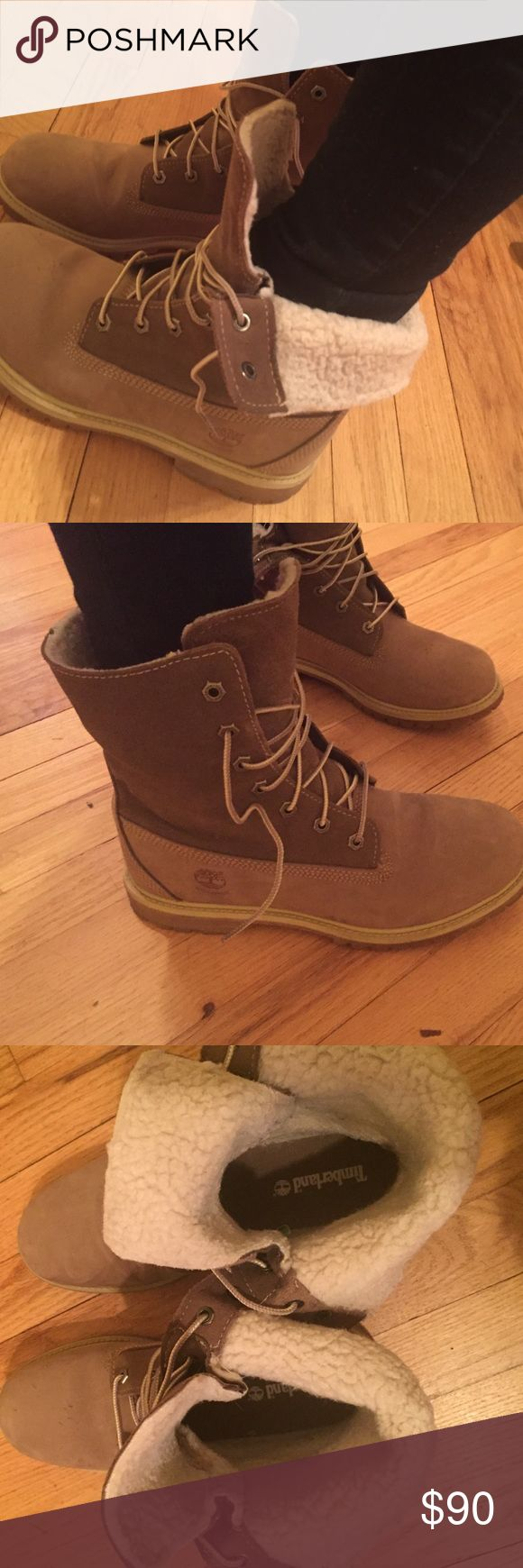 Womens timberland boots Womens timberland authentic teddy boot. Fleece-lined fold-down style. Some signs of wear- 4 small scratches on top of left shoe. Bottom treads are not worn down at all. Great sturdy, cute, warm boots! Size 9M, color Taupe. Timberland Shoes Lace Up Boots