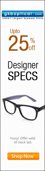 Upto 25% off on Designer spectacles.