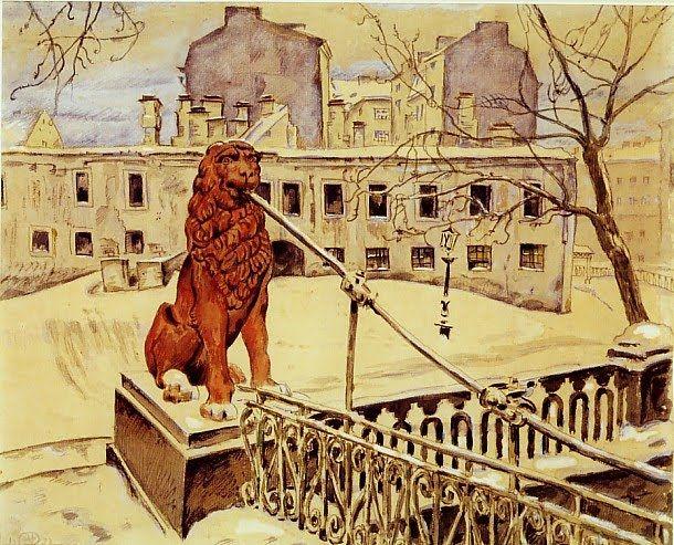 Mstislav Dobuzhinsky (1875-1957) - The Lion Bridge in Petrograd, 1922