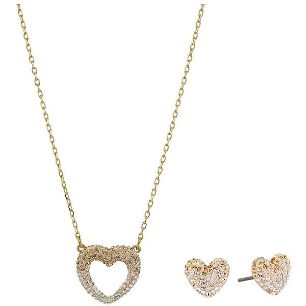 Swarovski Enjoy Pointillage Set (Gold/Light Multi) Jewelry Sets ($129) ❤ liked on Polyvore featuring jewelry, earrings, heart charm, gold charms, gold heart charm, pave stud earrings and gold stud earrings